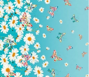 Daisy Meadow Daisies and Butterflies Daisy Border Aqua Cotton Fabric