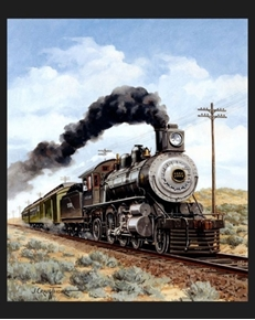 New Mexico Locomotive Vintage Steam Engine Large Cotton Fabric Panel
