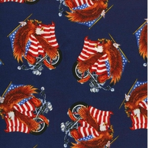 Patriotic Motorcycle Eagle and Flag on Navy Blue Cotton Fabric