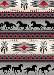 Tucson Southwest Aztec Horse Dreamcatcher Gray Stripe Cotton Fabric
