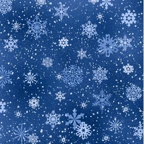 Landscape Medley Snowflakes Winter Snow on Royal Blue Cotton Fabric