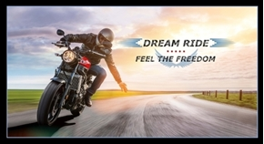 Dream Ride Motorcycle Biker Feel The Freedom 24x44 Cotton Fabric Panel