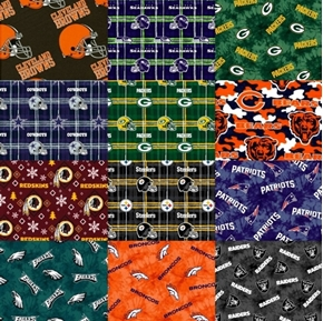 Flannel NFL Football Teams 9 oz Large Size Fabric Scraps for Masks