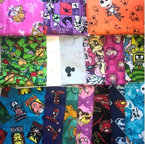 Flannel Character Fabric One Pound of Large Size Scraps for Masks