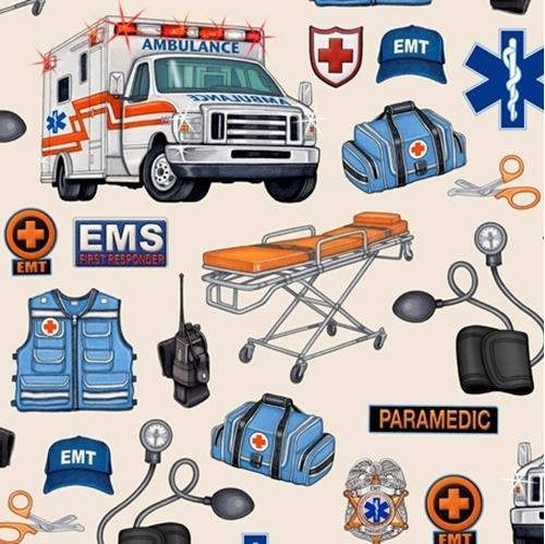 What The Doctor Ordered EMS EMT Paramedic Ambulance Beige Cotton Fabric