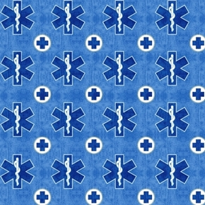 What The Doctor Ordered Medical Emergency Symbol Blue Cotton Fabric