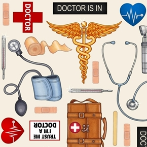 What The Doctor Ordered Medical First Aid Supplies Beige Cotton Fabric