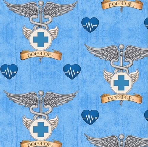 What The Doctor Ordered Medical Doctor Symbol Blue Cotton Fabric
