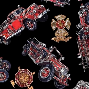 5 Alarm Vintage Firetrucks Firefighter Fire Dept Black Cotton Fabric