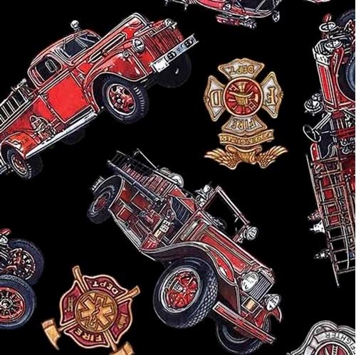 5 Alarm Vintage Firetrucks Firefighter Fire Dept Black Cotton Fabric