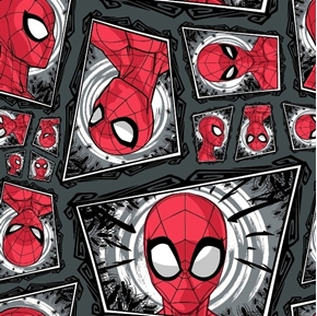 Spiderman Comic Swirl Framed Portraits Gray Cotton Fabric