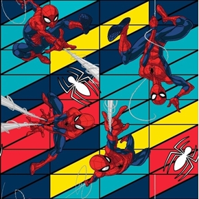 Spiderman Swing Aqua Red Blue Yellow Geometric Grid Cotton Fabric