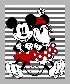 Disney Mickey and Minnie Gray Stripped Large Cotton Fabric Panel