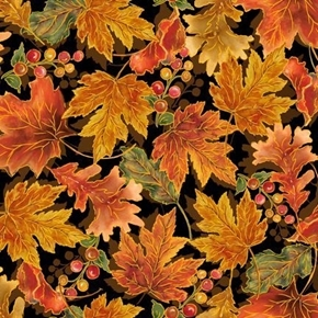 Harvest Elegance Autumn Leaves Fall Leaf Black Cotton Fabric