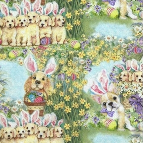Dog Bunnies Allover Easter Puppies Flowers Susan Winget Cotton Fabric