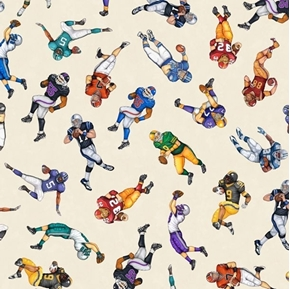 Football Novelteenies Players Sports Action Cream Cotton Fabric