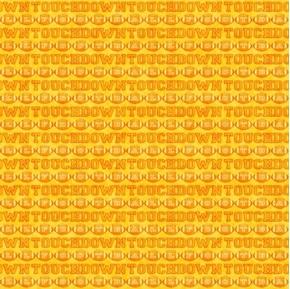 Football Novelteenies Words Footballs Touchdown Yellow Cotton Fabric