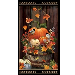 Harvest Elegance Autumn Pumpkins Chickadee 24x44 Cotton Fabric Panel