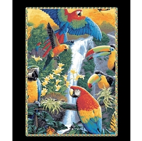 Tropical Treats Colorful Toucan Birds Toucans Cotton Fabric Panel