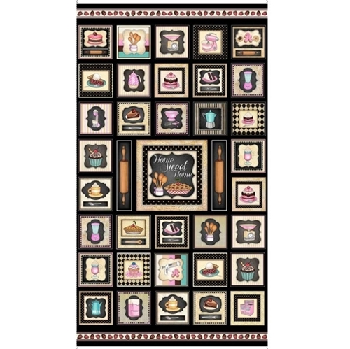 Home Sweet Home Baking Desserts Small Patch 24x44 Cotton Fabric Panel