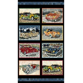 Artworks XIII Car Patches Classic Cars Pixel Art 24x44 Fabric Panel