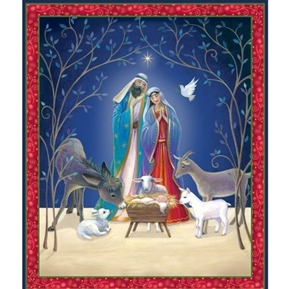 Christ is Born Nativity Jesus Mary and Joseph Large Cotton Fabric Panel