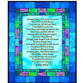 How Sweet the Sound Amazing Grace Stained Glass Cotton Fabric Panel