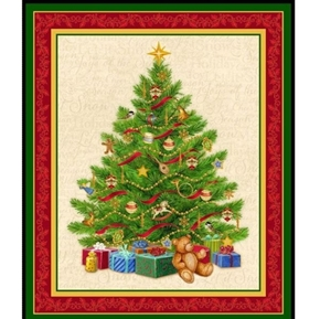 O Tannenbaum Christmas Tree Large Holiday Cotton Fabric Panel