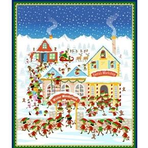 Santa's Workshop Christmas Elves North Pole Large Cotton Fabric Panel