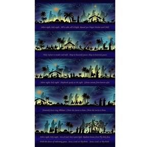 Silent Night Hymn Lyrics Nativity Metallic 24x44 Cotton Fabric Panel