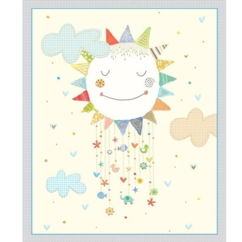 Lil' Sunshine Childrens Happy Sun and Clouds Large Cotton Fabric Panel