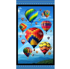 Up In The Air Hot Air Balloons and Mountains 24x44 Cotton Fabric Panel