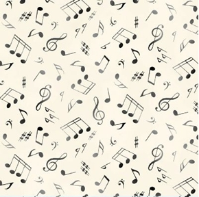 Jazz Music Notes Musical Notes G-Clef Grey on Cream Cotton Fabric