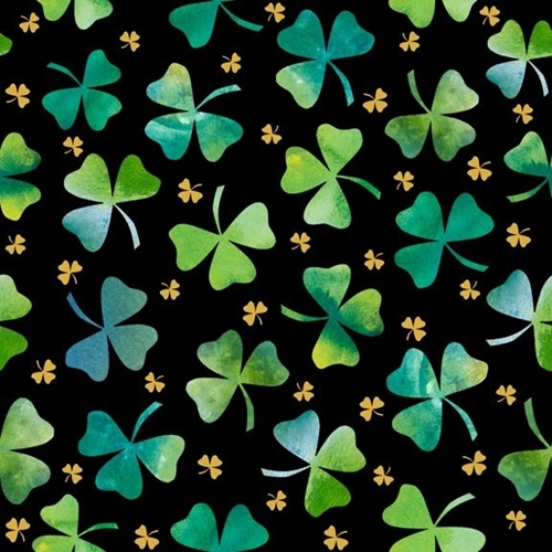 Irish Charm Shamrocks Ombre Shamrock St Patricks Black Cotton Fabric