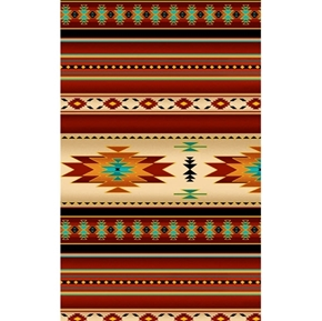 Tucson Southwest Aztec Metallic Accents Terracotta Stripe Cotton Fabric