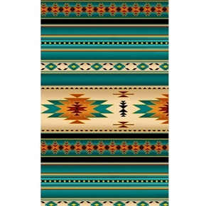 Tucson Southwest Aztec Metallic Accents Turquoise Stripe Cotton Fabric