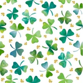 Irish Charm Shamrocks Ombre Shamrock St Patricks White Cotton Fabric