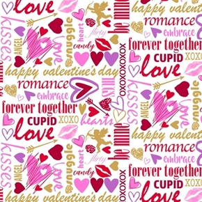 Sweethearts Valentine Lingo Cupid Romance Snuggle White Cotton Fabric