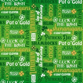 Irish Charm Irish Lingo Luck Kelly Green St Patricks Day Cotton Fabric