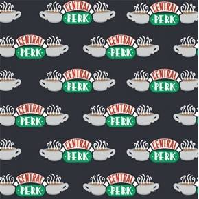 Friends TV Sitcom Central Perk Coffee Shop Black Cotton Fabric