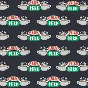 Friends TV Sitcom Central Perk Coffee Shop Black Cotton Fabric