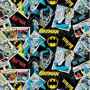 Batman 80 Years Anniversary Comic Strip Logo Collage Cotton Fabric