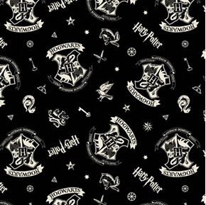 Wizarding World of Harry Potter Tossed Assets Hogwarts Cotton Fabric