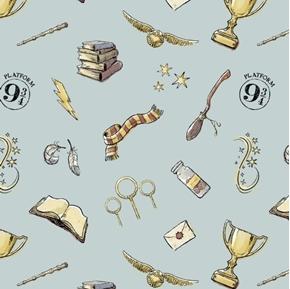 Wizarding World of Harry Potter Soft Wash Magic Blue Cotton Fabric
