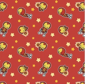 Marvel Kawaii Iron Man Young Superhero Red Cotton Fabric