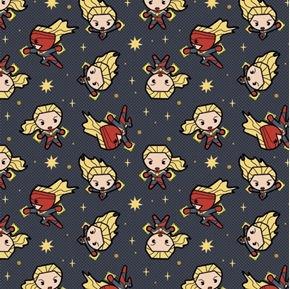 Marvel Kawaii Captain Marvel Young Superhero Navy Blue Cotton Fabric