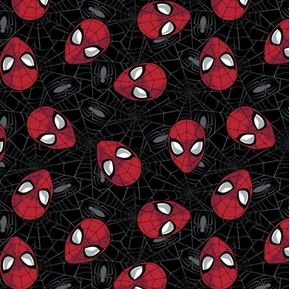 Marvel Hero Spiderman Web Head Shots Black Cotton Fabric