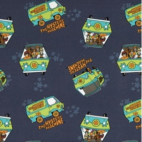 Scooby Doo II The Mystery Machine Hanna-Barbera Navy Cotton Fabric