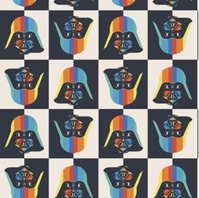 Star Wars Lucas Rainbow Darth Vader Geo Block Cotton Fabric