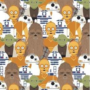 Star Wars Portrait Stacked Yoda R2-D2 Chewbacca C-3PO Cotton Fabric
